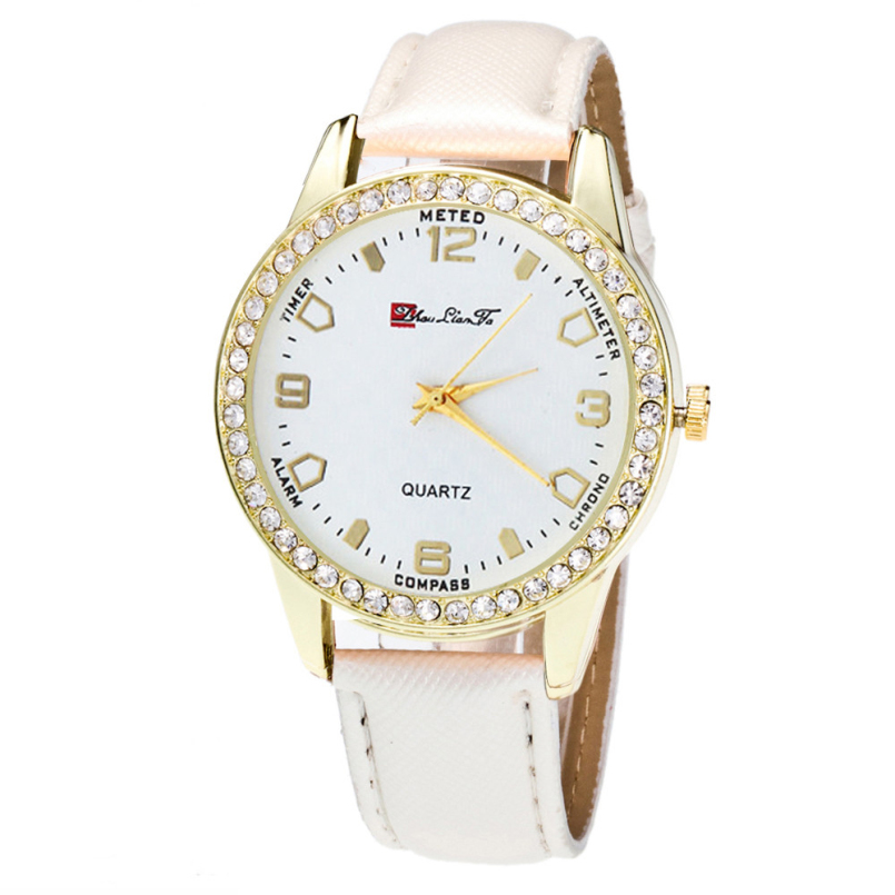 Excellent Quality New Women Watch, Montre Womens Crystal Watches Analog Faux Leather Quartz Wrist Watch Female Dress Relogio