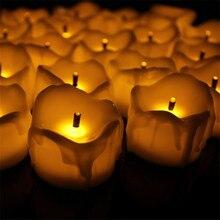 24 шт. Беспламенное желтое мерцание Чай R Воск падение свечи мини Батарея работает Чай огни Новое поступление Реалистичная светодиод Чай свет свеча