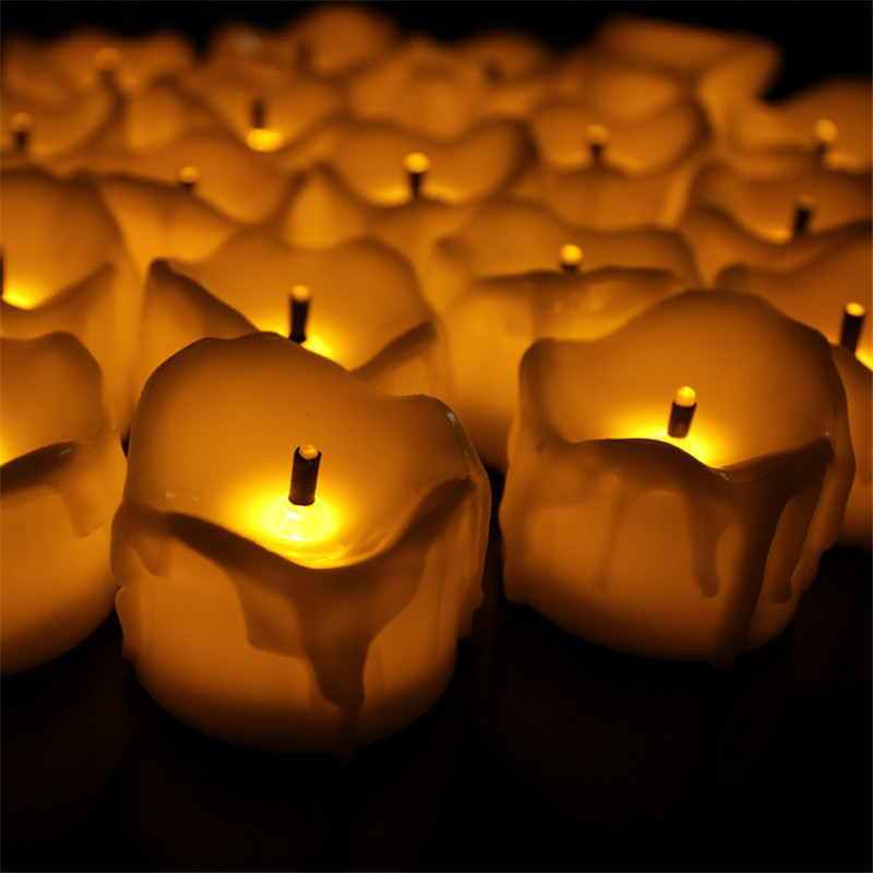 24pcs Flameless Yellow Flicker Tear Wax Drop Candle Mini