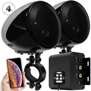 Image 3 - Комплект звукового сигнала для мотоцикла Aileap, 150 Вт, стереоусилитель 2 канала, водонепроницаемые колонки 4 дюйма, Bluetooth, FM радио, AUX MP3 (черный)