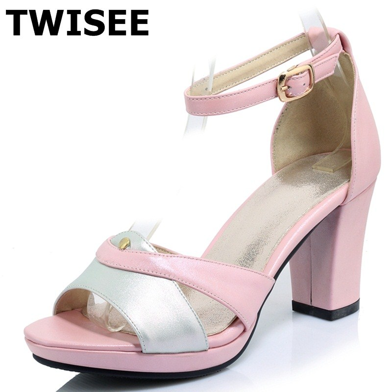 TWISEE pu leather Square heel Comfortable ladies women shoes sandals summer sandals woman casual shoes platform Buckle Strap xiaying smile summer new woman sandals platform women pumps buckle strap high square heel fashion casual flock lady women shoes