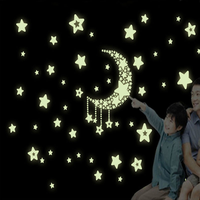 New 3D DIY Removable Stars Luminous Wall Sticker Fluorescence Stars Moon Poster Mural Vinyl Glow In the Dark Wall Stickers Decal
