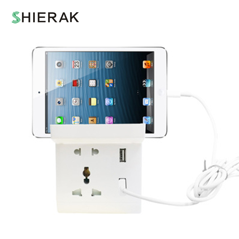 SHIERAK Universal Standard White Dual USB Double Wall Socket 5V 4.8A Charger For Mobile Phone Electrical Plug Adapter Two USB high quality universal smart fuse circuit breaker protection dual usb port 5v 2 1a 1a car charger for mobile phones tablet pc