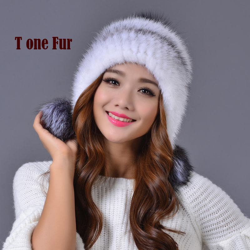 2018 Real Mink Fur Hat For Women Winter Knitted Mink Fur Cap With with silver fox fur ball cap Free shipping KWA120