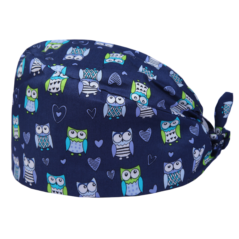 Navy Owl Print Medical Cap Nurse Scrub Work Hats Dental Clinic Surgical Cap For Men And Women 100% Cotton Medical Accessories