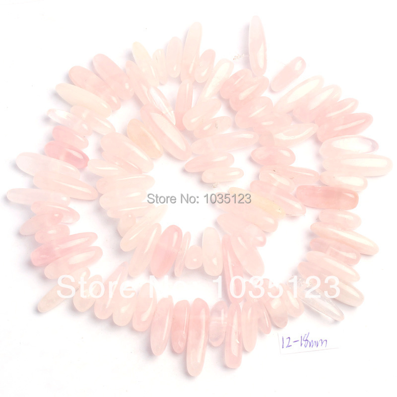 Free Shipping Pretty 12-18mm Natural Rose Quartzs Stick Shape Gems Loose Beads Strand 15 DIY Creative Jewellery Making w548