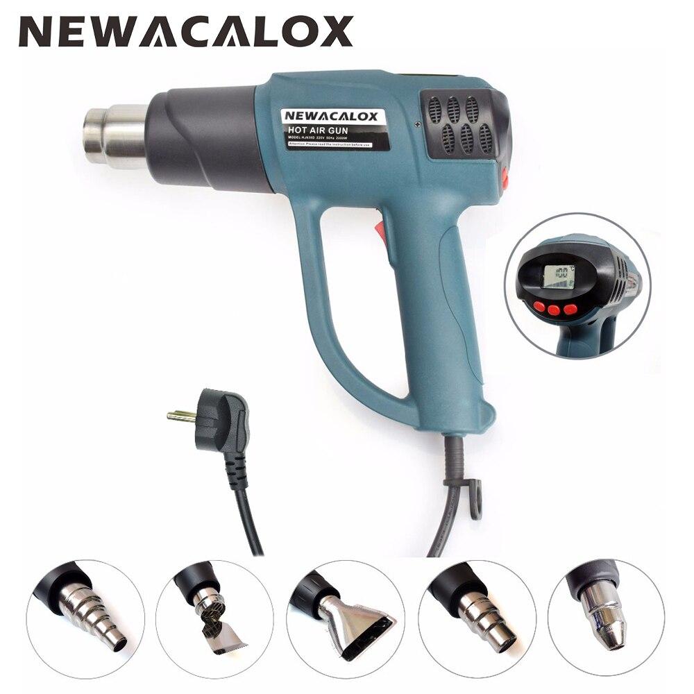 NEWACALOX 2000 Вт 220 В ЕС Plug Smart термостат ЖК-дисплей Дисплей промышленного фена для усадочное нагреватель с 5 шт. сопел