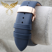 22mm New Mens 100 Genuine leather Watch band Strap Rose Gold Metal Butterfly Depolyment Clasp Buckle