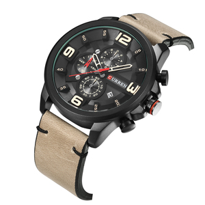 Image 4 - CURREN Fashion Design Male Clock Chronograph Men Sports Watches Waterproof Leather Strap Quartz Mens Watch Relogio Masculino