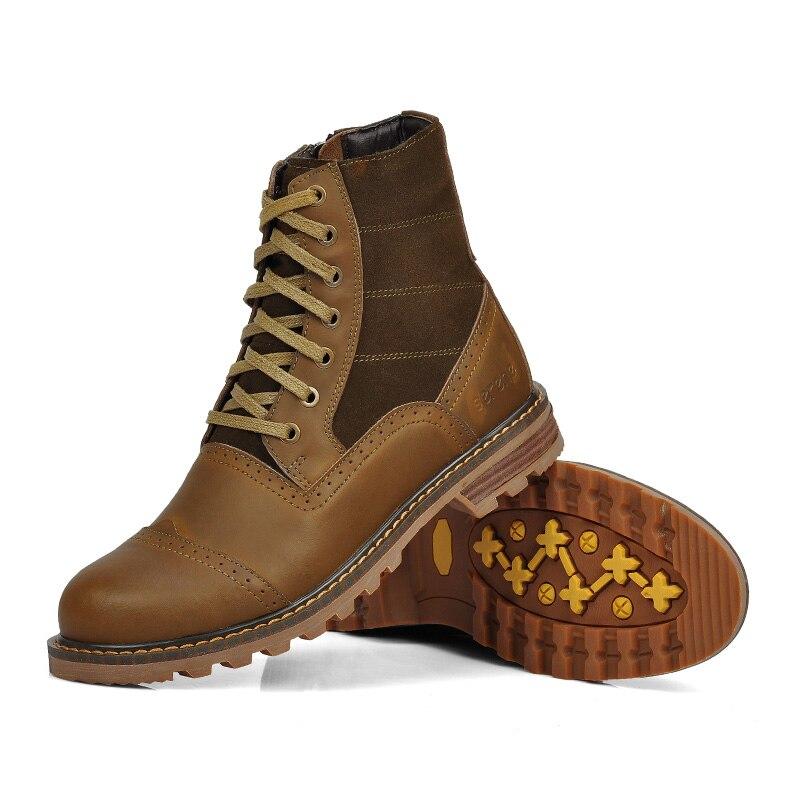 a01e3a7791 Costura De Inverno Moda coffee Couro Botas Homens khaki Black Britânica  Borracha amp  New Outono Leather2216 ...