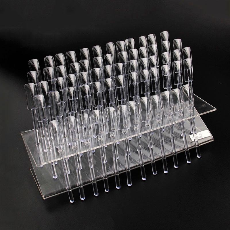 ⊰New 64 Tips Pop Sticks Nail Art Clear Tips Display Stand Nail ...