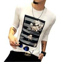 Mens T Shirts Fashion 2016 Autumn New Fashion Flower Casual T Shirt Men Slim Fit Leisure