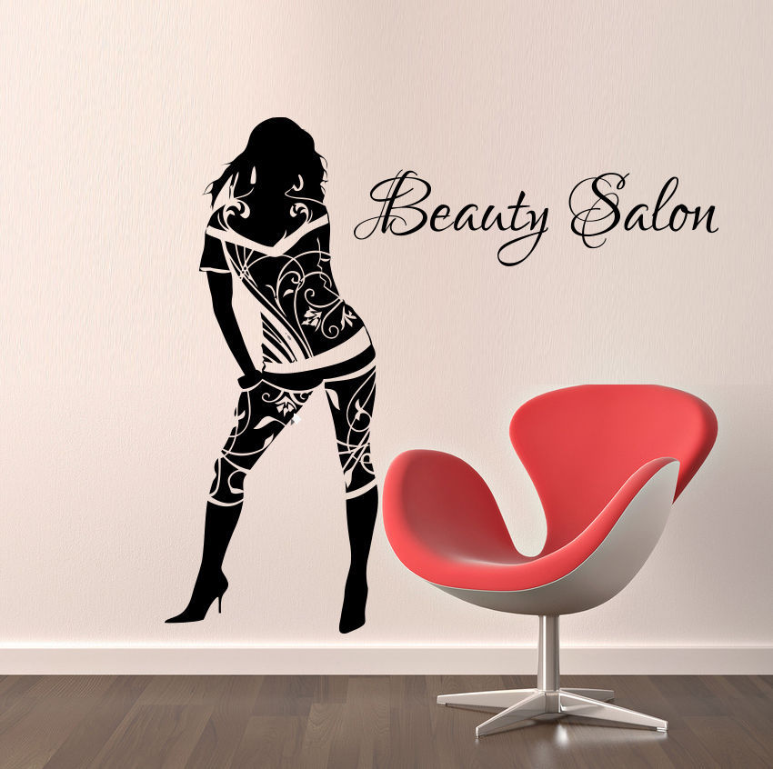 Beauty salon vinyl wall decal sexy girl fashion woman for Stickers pared baratos