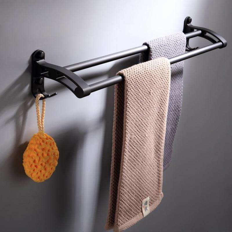 European Design New Style Black Double Rod Bathroom Hardware Pendant  Double Rod Towel Rack Kitchen Bathroom Accessories 999SG