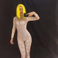Для женщин Комбинезон Полный 10000 шт. сверкающими стразами боди Ночной клуб Djds этап носить сексуальный костюм певица танцор Костюмы