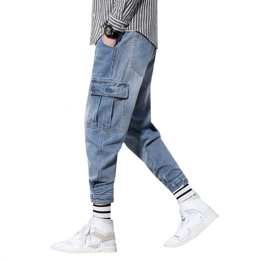 Japanese Style Fashion Men Jeans Vintage Designer Loose Fit Multi Pockets Denim Cargo Pants Streetwear Hip Hop Harem Jeans Male