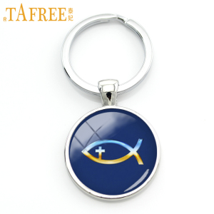TAFREE Crucifix keychain vintage christian fish key chain ring holder charm blue color men women jewelry faith gift KC298(China)