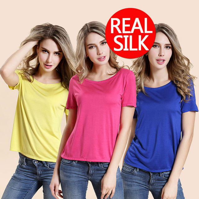100% pure REAL SILK women SOLID casual high quality basic shirt office lady body short sleeve base top 2015 new