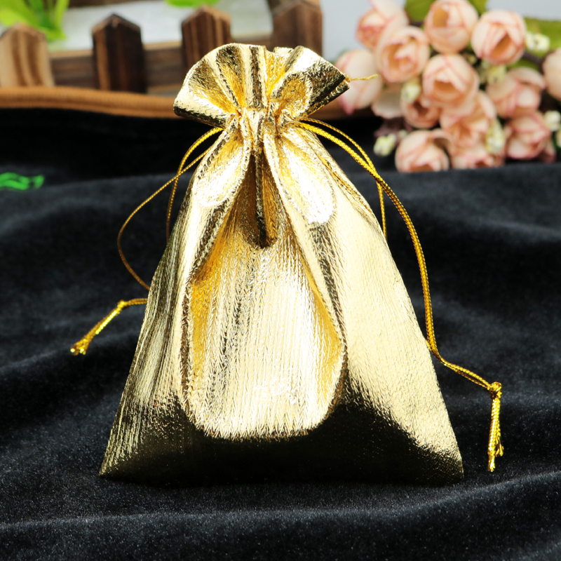 Wholesale 500Pcslot Satin Gift Bags 11x16cm Gold Color Drawstring Pouches Favor Jewelry Packaging Bags Storage Organizer