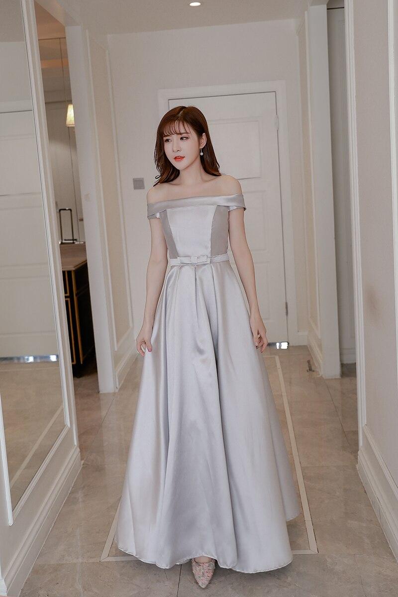Robe longue sans manches en Satin de couleur grise robe de demoiselle d'honneur robes de mariée pour femmes dos de Bandage