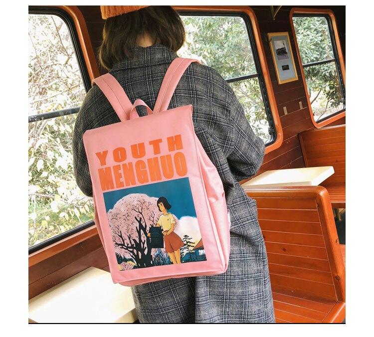 Menghuo Women Backpacks Animation Figure Printed Girls Students School Shoulder Bag for Teenage Girls Backpack Ladies Mochilas--_22