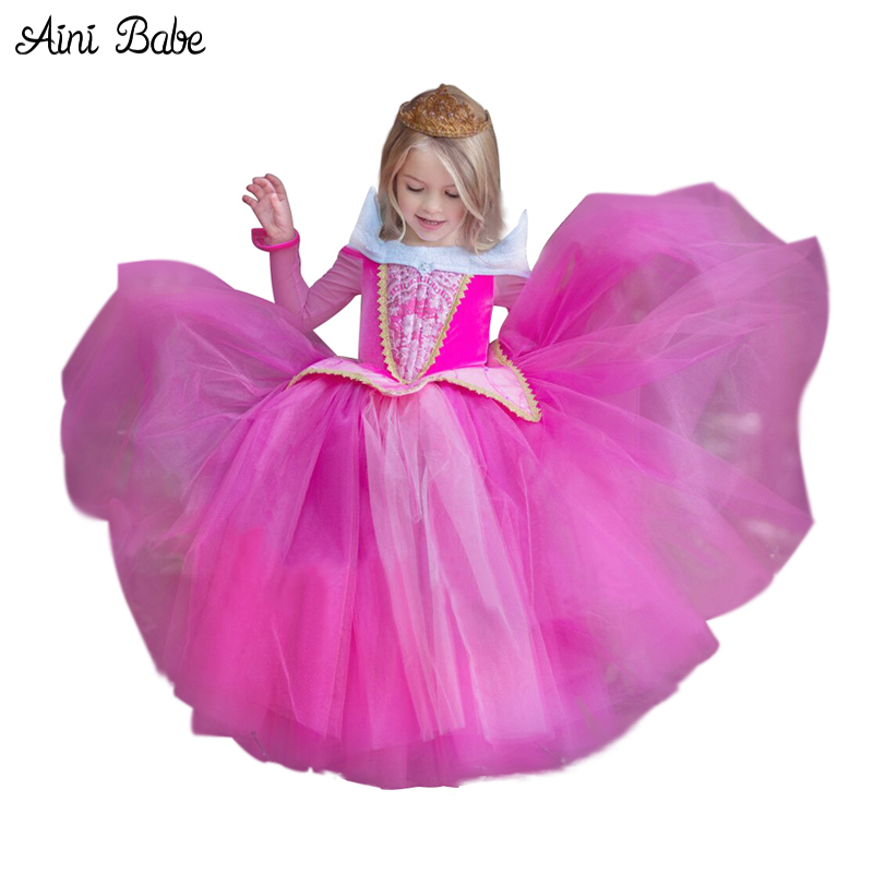 Enfants Fantaisie Robes Princesse Aurora robe de Bal Pour Les Filles Halloween Cosplay Costume Kids Party Wear Tulle Robe pour Rôle- jouer
