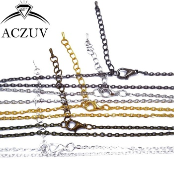 120piece 3x4mm Silver/Gold/Bronze/Rhodium/Black/Gunmetal Metal Flat Cable Chain Necklaces W/ Lobster Clasp Extender