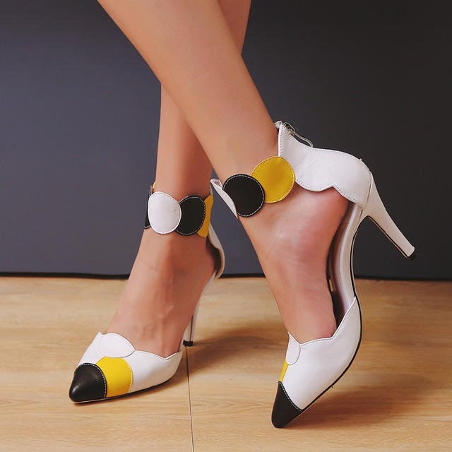 Summer Shoes Ankle Strap High Heel Pointed Toe Genuine Leather