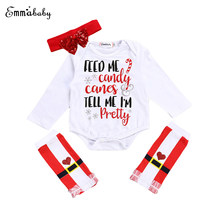 Ropa de bebé recién nacido Niñas ropa 3 unids Navidad letra bodysuit +  Lentejuelas bowknot venda + Calentadores para piernas oto. 9a13d6733565