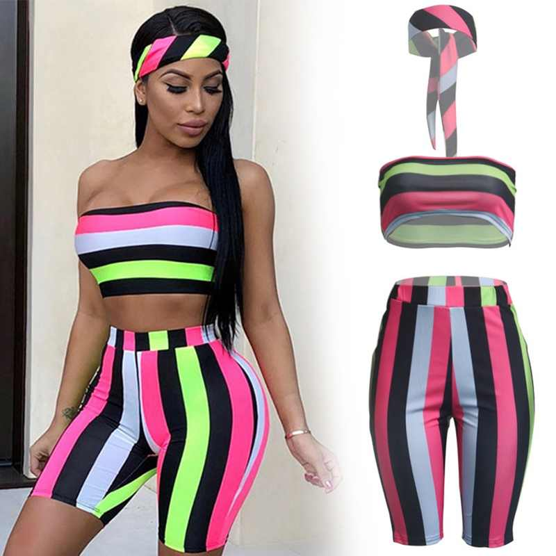 Fashion Sexy 3 Piece Set Women Head Scarf+Crop Tops+Bodycon Shorts Sweat Suits Boho Beach Summer Outfits Three Piece Tracksuit