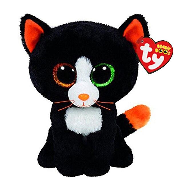"""Ty Vaias Gorro Stuffed & Plush Animais Diferentes a Cor Dos Olhos Do Gato Preto Boneca de Brinquedo 6 """"15 cm"""