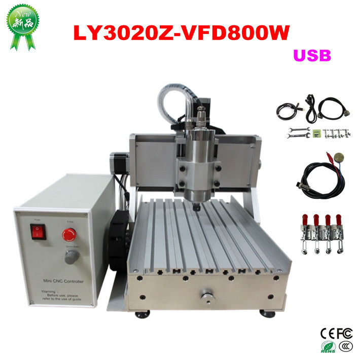 High quality! CNC router LY3020Z-VFD800W USB 3axis CNC wood carving machine for wood working akg6090 high quality 3d wood carving machine cnc router 6090 for advertisement