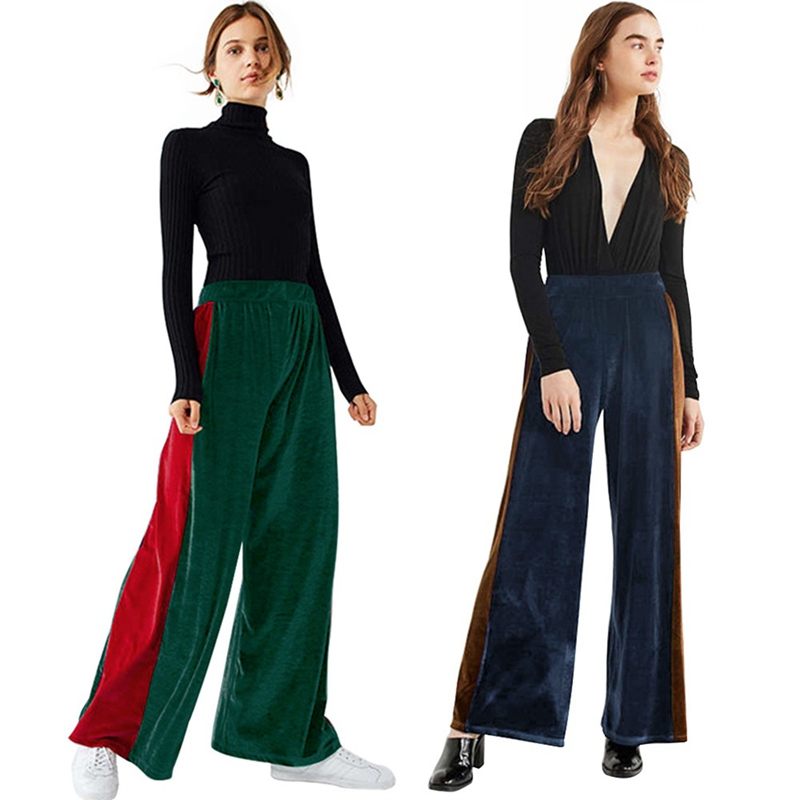 2019 Women Summer Casual Style Side Striped Stitching Long   Pants     Wide     Leg     Pants   Green Blue Simple Loose High Waist Trousers
