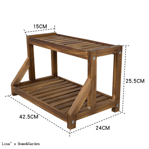 ... Knock Down Design Solid Pine Wood 2 Tier Shelf For Small Items (3) ...