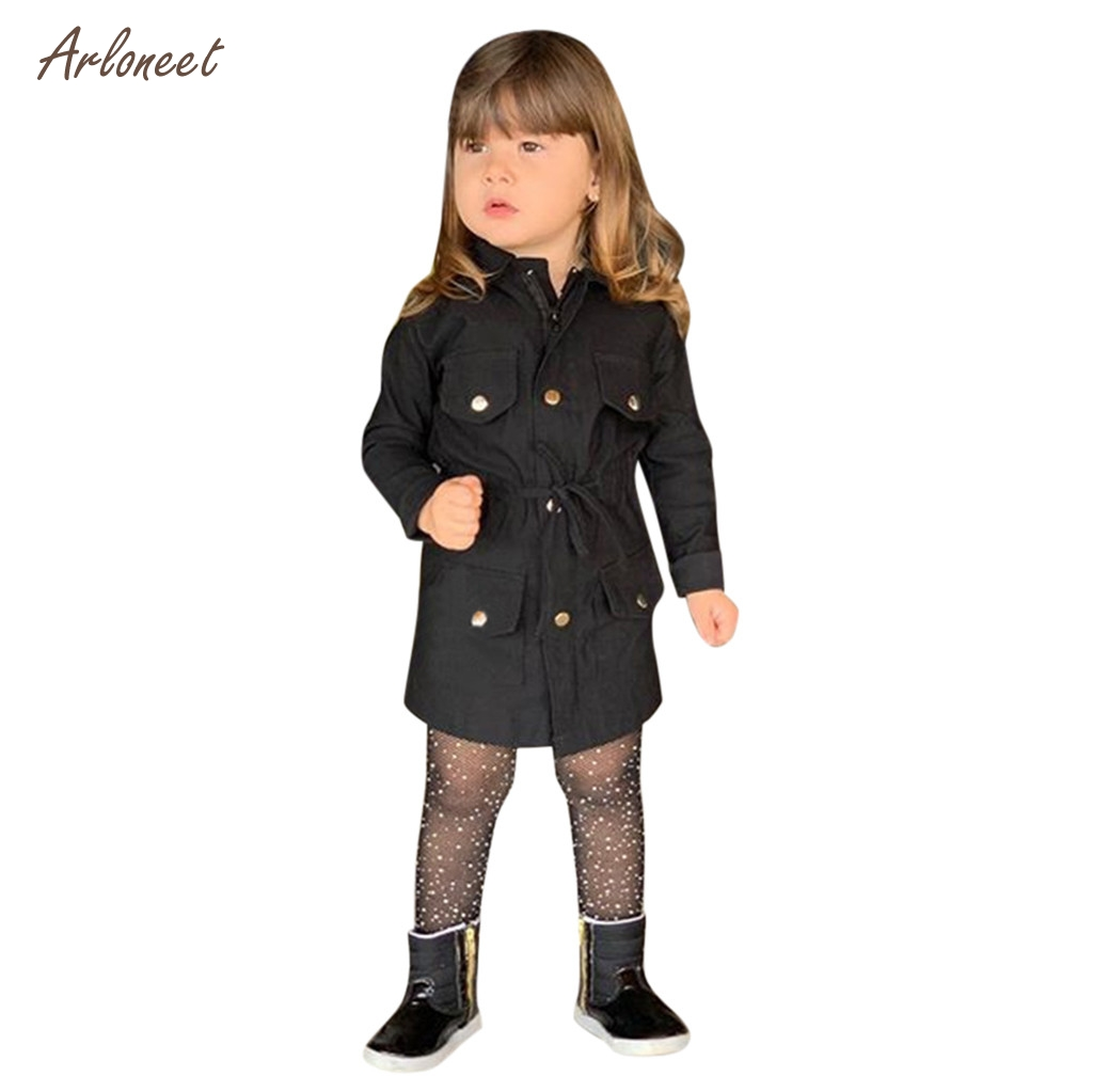 Children Kids Baby Girls Mid Sleeve Trench Coat Windbreaker Jacket Outwear Parka