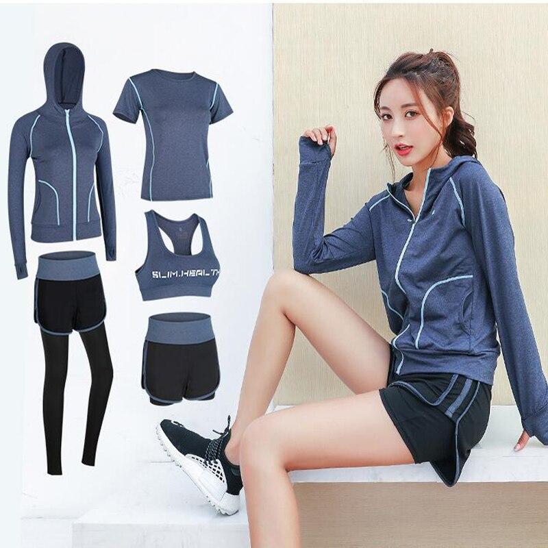 Yoga Sets Women 5 piece set Sport Suit Quick Dry Bra Set Female Short sleeved shorts long pants Outdoor Sportswear Fitness suit - 2