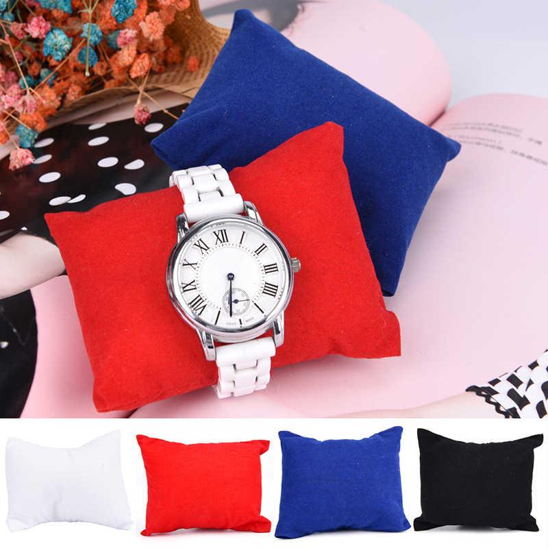 HWetR бархатный кожаный браслет подушка для часов Коробки для показа ювелирных изделий держатель органайзеры 8*9*5 см