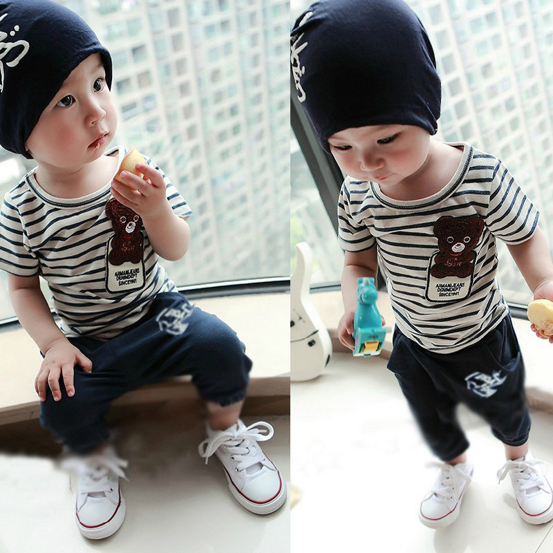 Kid Boys Summer 2017 New Small Children Children Casual T-shirt Suit Baby Clothing