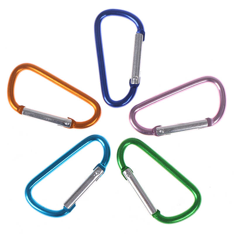 1Pcs Carabiner Clip Key Chain Ring Holder Cable Hiking Hook Lock Camping D Shape