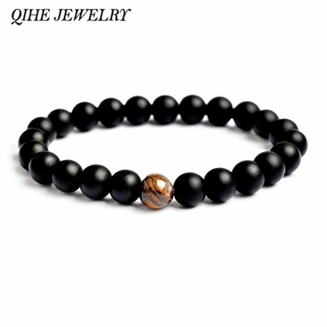 QIHE JEWELRY Men beads bracelet White black matte stone tiger eye lava stone bra