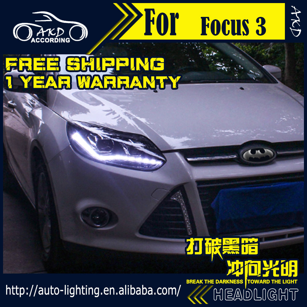 AKD Car Styling Head Lamp for Ford Focus Headlights 2012-2014 Focus3 LED Headlight DRL H7 D2H HID Option Angel Eye Bi Xenon Beam akd car styling for nissan teana led headlights 2008 2012 altima led headlight led drl bi xenon lens high low beam parking