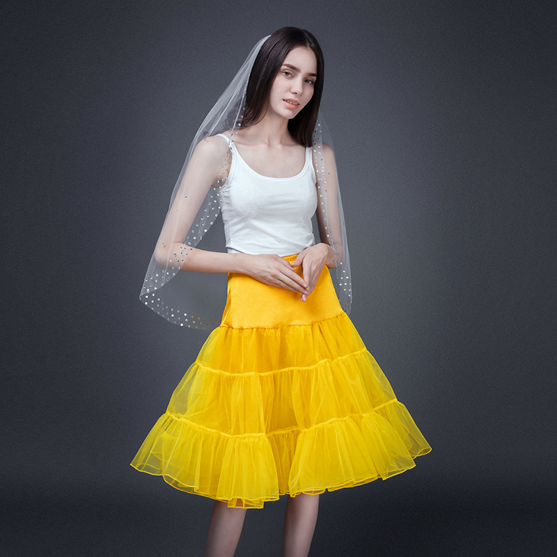 LAMYA Short Vintage Wedding Bridal Petticoat For Wedding Dress Underskirt Rockabilly Tutu Organza Halloween Petticoat Crinoline