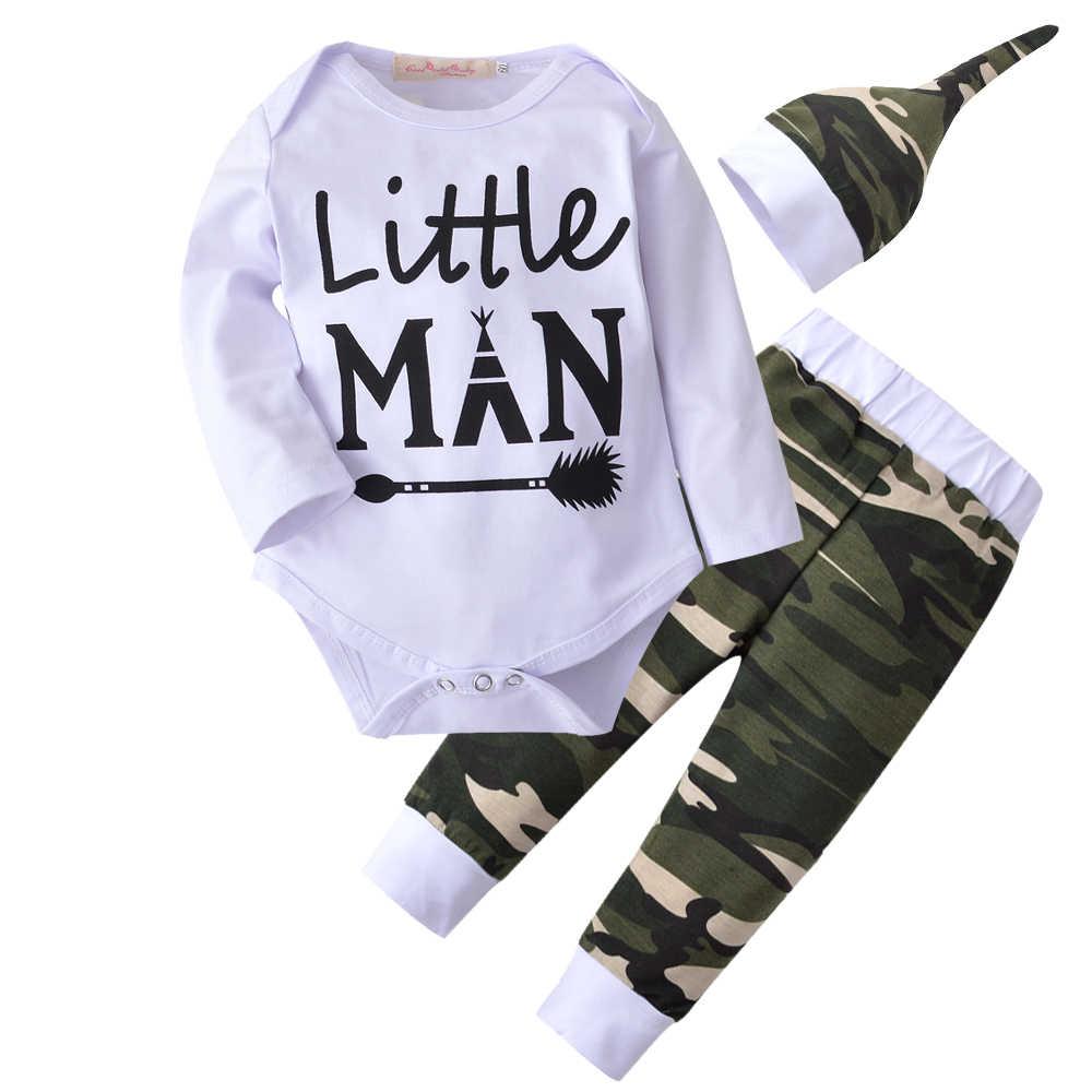 d99353682cd32 3 Pcs/Suit Baby Boys Clothing Set Autumn Long Sleeves Letter Little Man  White Rompers+Camouflage Pants+Hat Newborn Clothes