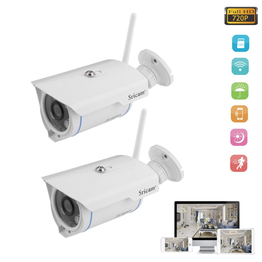 купить 2pcs/set Sricam SP007 720P HD IP Camera WIFI Onvif 2.4 P2P Waterproof 15m IR Outdoor IP Cam Home Surveillance with 16GB TF Card по цене 6016.42 рублей