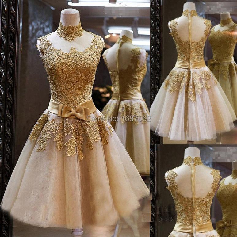 Aliexpress.com : Buy Vintage Short Lace Wedding Dresses Knee ...