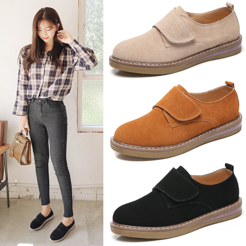 New Women Flats Shoes Women's Flat Female Ladies Genuine   Leather     Suede   Gray Casual Comfortable Shoes Woman