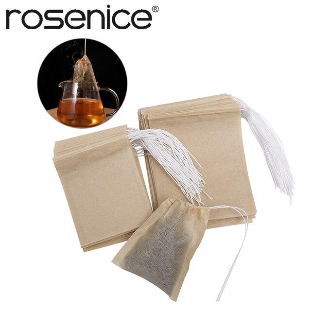 200 pièces Non-tissé tissus sachets de thé cordon sac à thé filtre papier vide sachets de thé pour feuilles mobiles thé en poudre herbes en gros