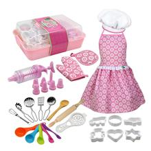 Complete Kids Cooking Baking Pretend Toy Set Role Play Kitchen Utensils Tools Cake Apron toys for children