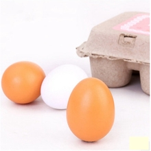 GEEK KING Wooden Toys Pretend Play Food Eggs Baby Toys Set Yolk Food Egg Preschool Wood Toys for Children Gift freeshipping new 6pcs wooden eggs yolk pretend play kitchen food cooking kid child toy gift set