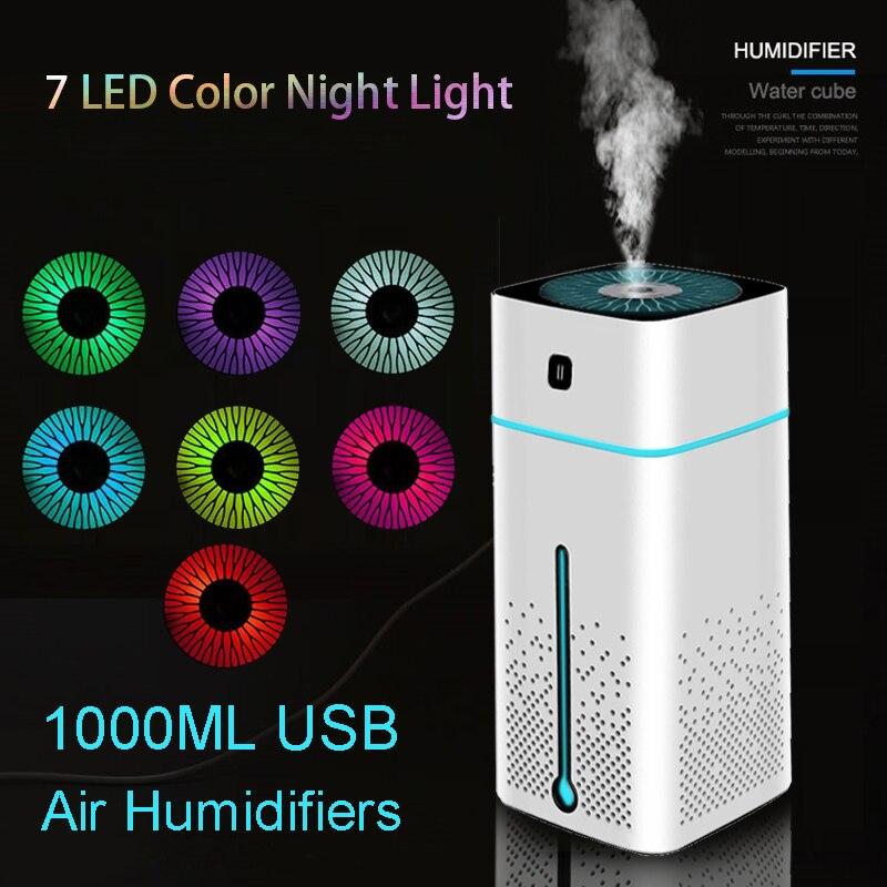 1000ml portátil USB Umidificadores de Ar difusor de aroma de óleo Atomizador humidificador Ultrasonic Aromaterapia Capacidade Car Home Office